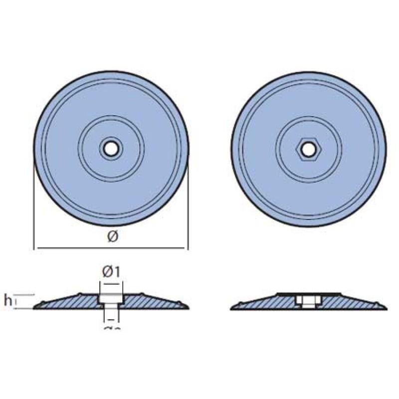Anodo Redondo Timon 130mm Juego 2 unidades con tornillo