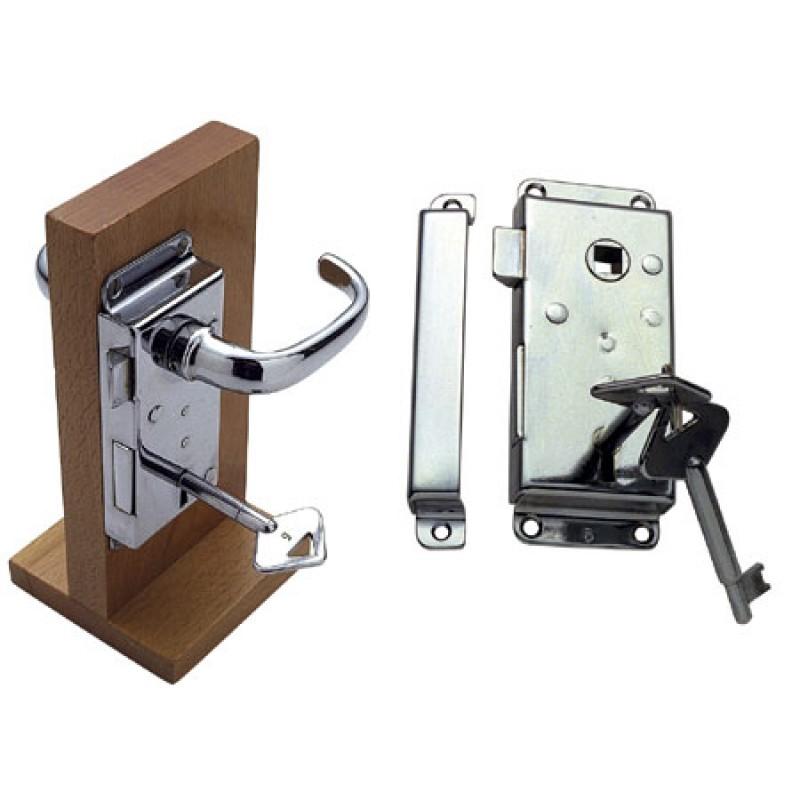 Cerradura de latón cromado a mano izquierda con llaves 112x46 mm