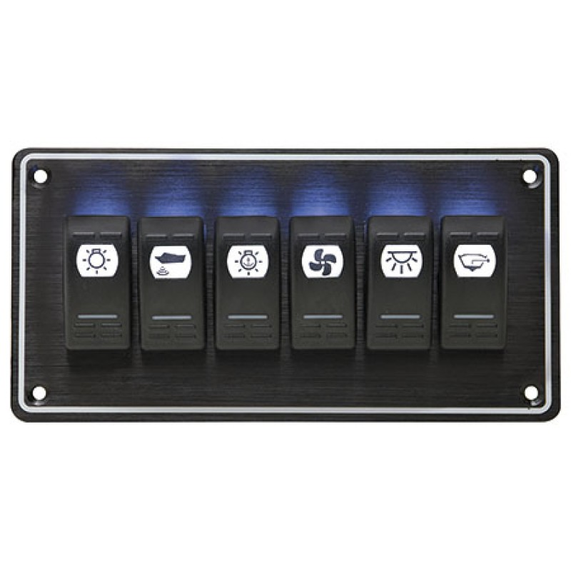 Panel de 6 Interruptores Horizontal Black sea 102 x H205mm